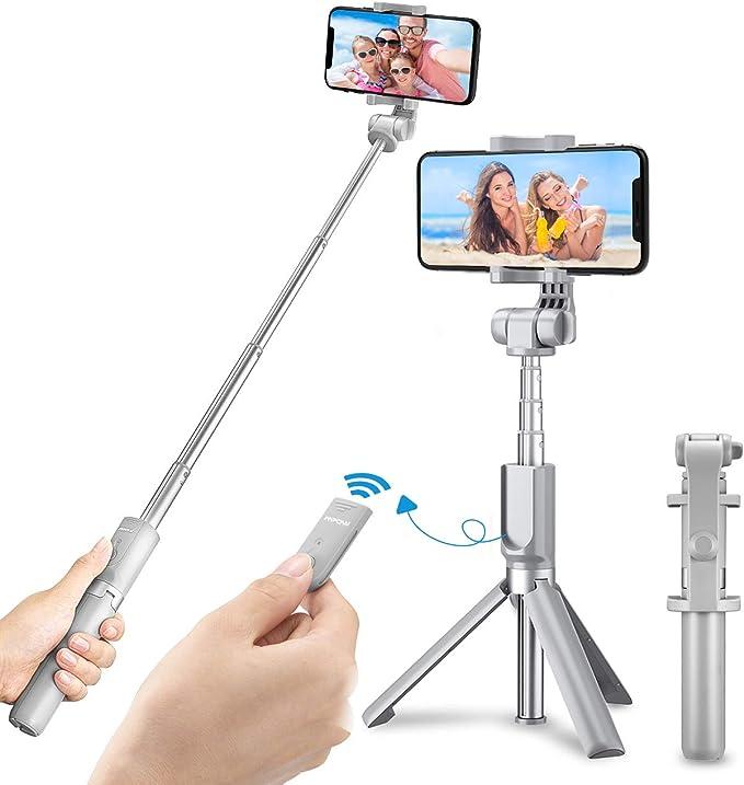 4 in 1 360 /° Rotazione Selfie Stick Cavalletto con Bluetooth Controllo Remoto per Gopro//iPhone//Android Mpow Selfie Stick Treppiede, Bastone Selfie Bluetooth Treppiede Estensibile