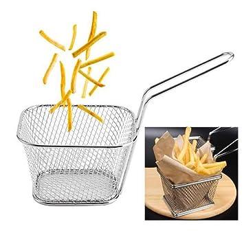 ouken 1PC Fry Basket Presente Comida frita Sirviendo Copas de Francia Freír Patatas Fritas Cuñas Titular de Acero Inoxidable freidora Cesta: Amazon.es: ...