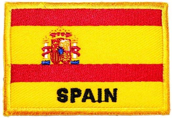 Ohrong España bandera nacional España parche bordado militar español insignia emblema gancho y lazo apliques para jeans chaquetas gorras bolsas (borde amarillo): Amazon.es: Hogar