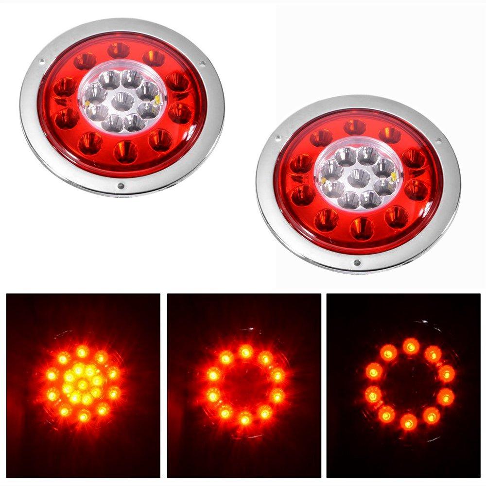 Feux arrières rouge/jaune rond 10,9cm 19 LED pour camion ou remorque, lumière LED étanche scellée avec anneau chromé 12V/24V CC pour clignotants, feux stop, avertisseurs (lot de 2) G-SUN
