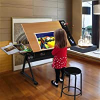 Monumart Tiltable Adjustable Tabletop Drafting Table Children Drawing Home Office Durable Stool