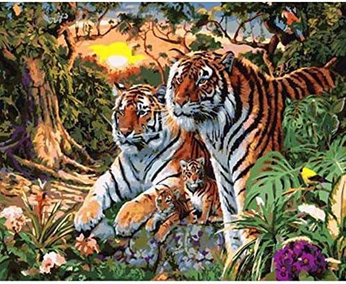 Fvfbd DIY Pintura por números Cuadro Dos Tigres Pintura al óleo Pintada a Mano Moderna del Arte de la Pared en la Lona para la decoración casera 40x50cm con Marco