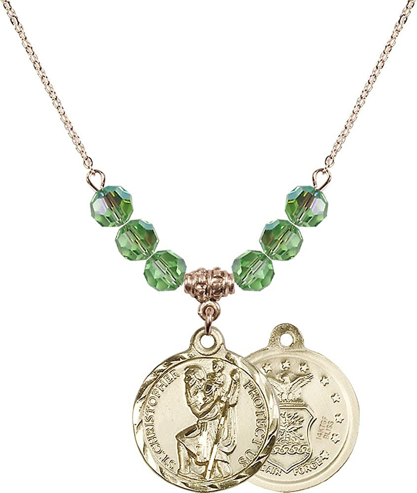 18-Inch Hamilton Gold Plated Necklace with 6mm Peridot Birthstone Beads and Gold Filled Saint Christopher Air Force Charm.
