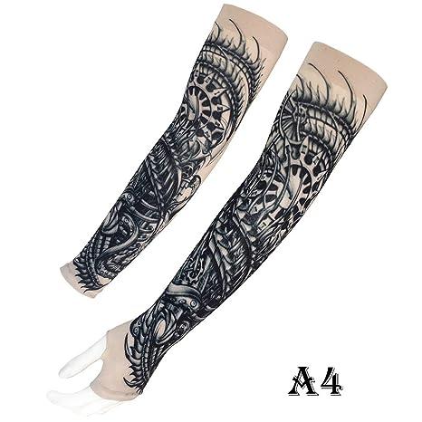 LUOSFUH Tatuaje Mangas Falso Tatuajes temporales Brazo A Prueba de ...