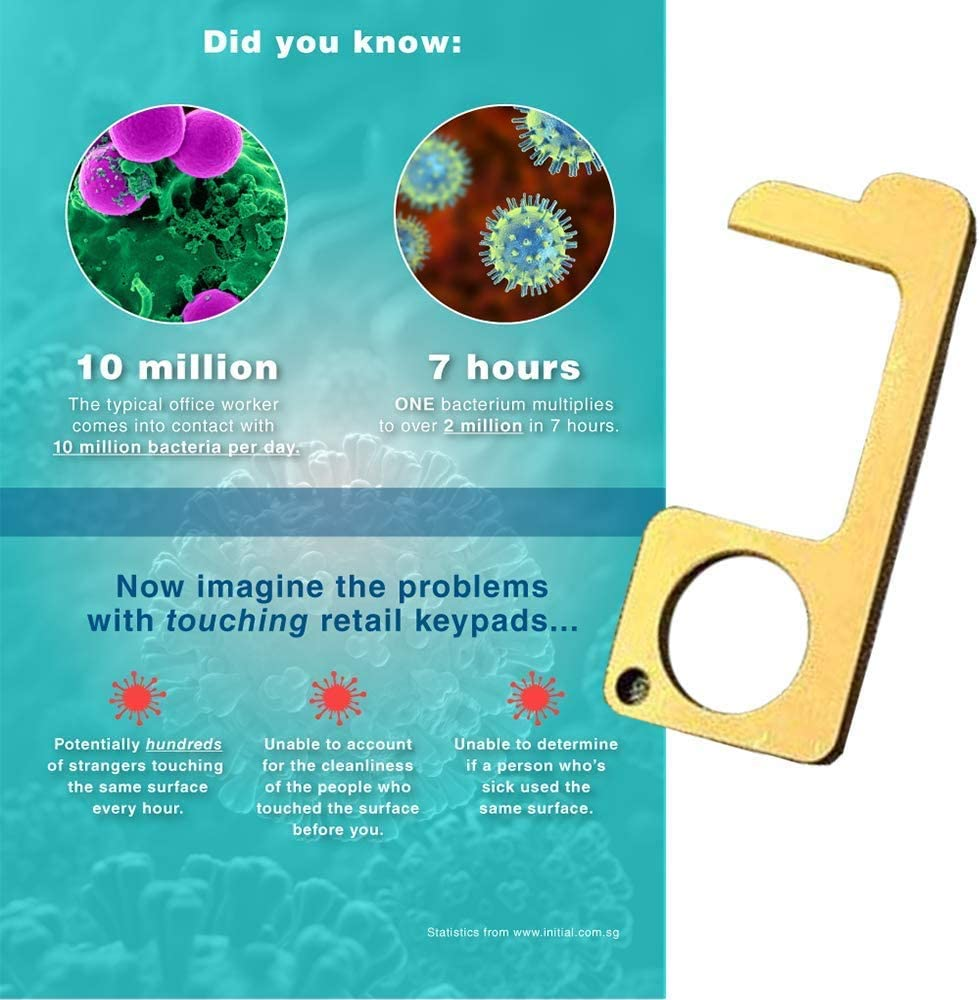 Hygiene Hand Avoid Dirty Environmental and More Hygiene Healthy Handheld Keychain Tool Jingolden 2Pcs Non-Contact Door Opener