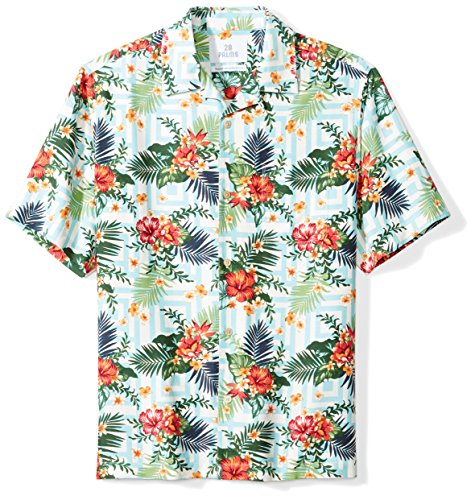 28 Palms Men's Relaxed-Fit 100% Silk Tropical Hawaiian Shirt, White/Blue/Red Tile Floral, ()