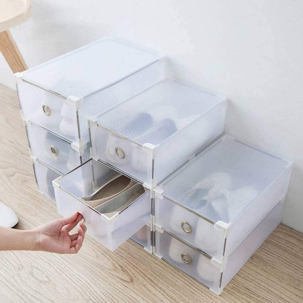 L 12.2 x W 7.87 x 4.33 Home Stackable Shoe Storage Box Plastic Drawer Case MathRose Clear Folding Shoe Boxes White Organiser Holder 24 Pack Shoe Container Storage Bins