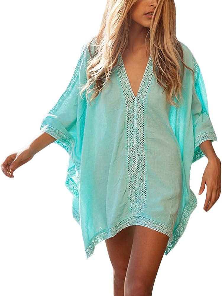 Veryco Beach Cover Up Lace Patchwork V Neck Loose Kimono Dress Cover Ups For Women Uk Size 6 16 Blue Amazon Co Uk Clothing