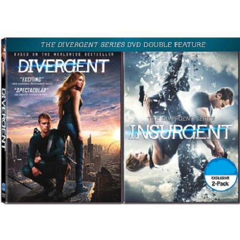 DIVERGENT / INSURGENT 2-Pack DVD Movie Double Feature (Both Divergent Series DVD Movies Together) Shailene Woodley, Kate Winslet, Theo James by Lions Gate