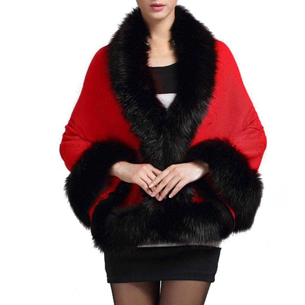 EFINNY Women Faux Fur Knit Cardigan Cape Ladies Evening Party Stole Cape Bridal Stole