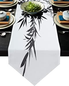 Linen Burlap Table Runner Dresser Scarves, Bamboo China Ink Painting Black and White Table Runners for Dining Room, Farmhouse Kitchen, Holiday Parties, Wedding, Events, Decor - 13x108 Inch