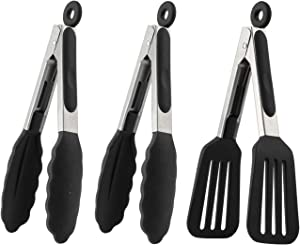 Mini Silicone Serving Tongs 7 Inch Set of 3 - Small Kitchen Tongs with Silicone Tips for Cooking, Serving & Frying - Small Salad Tongs with Stainless Steel Handle, Serving Tongs for Food, Spatula Tong