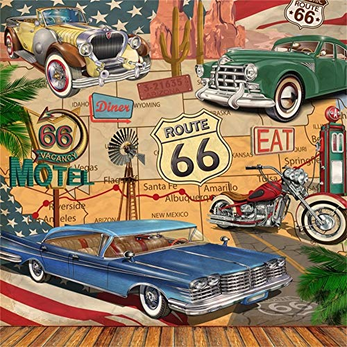 LFEEY 8x8ft Route 66 Illustration Backdrop Trip Route map Photography Background Travel Party Events Photo Studio Props