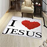 Modern Customize Floor mats for home Mat I Love Text and Shape Little Hearts Modern Typography Passion Faith Religion Oriental Floor and Carpets 36''x48'' Red White Black
