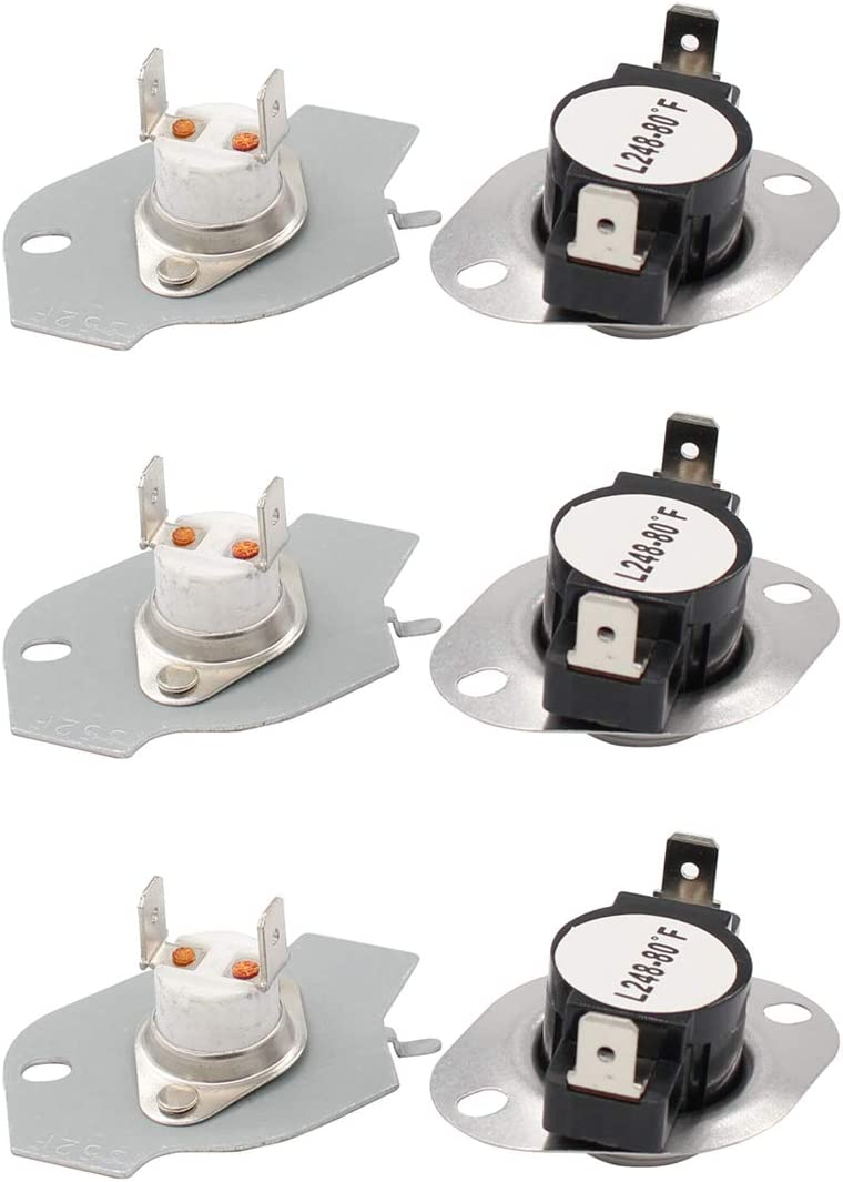 ApplianPar 3 Pack 279769 Dryer Thermal Cut-Off Kit Fuse Thermostat Replacement for Whirpool & Kenmore Dryers 3389946, 3398671, 3977394, 695563, AP3094224, 3390291