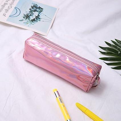 Fablcrew - Trousse de grande capacité, brillante à fermeture éclair pour stylos ou produits de maquillage - Idéal pour la maison, lécole, le bureau 19*9*6CM rose l'école