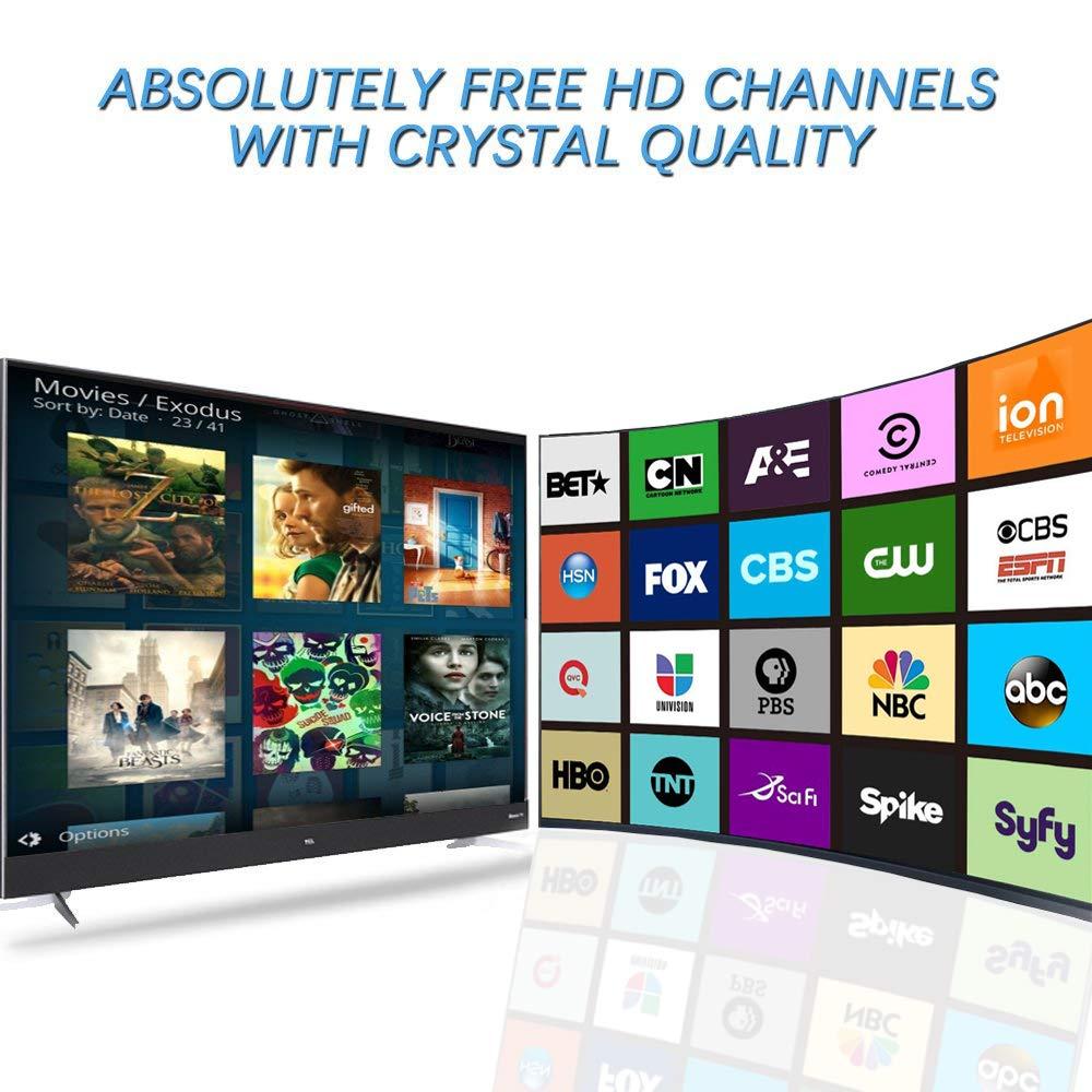 FOX disfrute de Muchos Canales de TV Gratis f/ácil de usar e instalar CBS etc NBC Antena de TV Antena Interior HDTV con Amplificador Port/átil incluyendo ABC 130-175 KMs de Recepci/ón