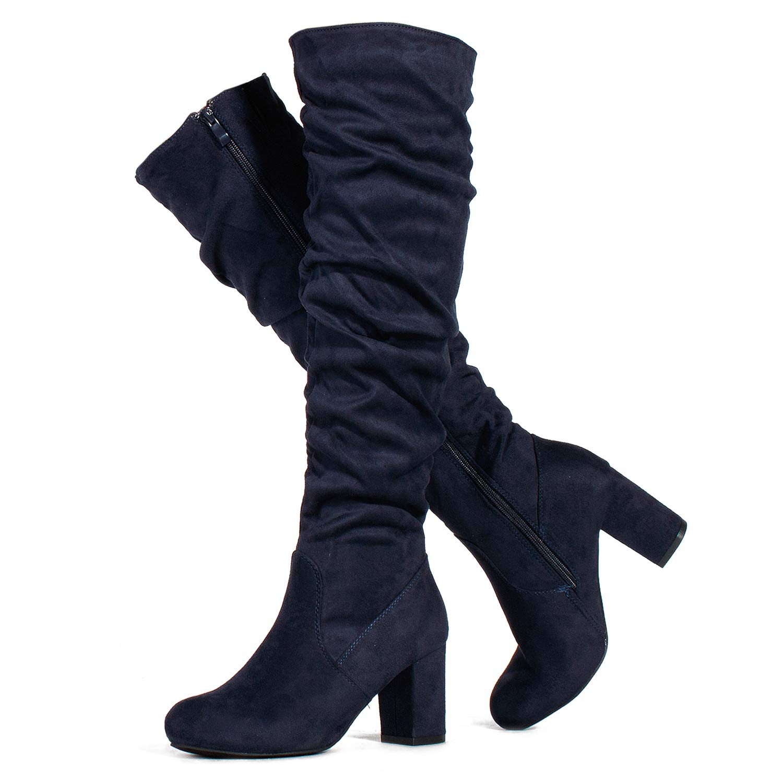 142c15b09e0 RF ROOM OF FASHION Women's Slim to Medium Calf Chunky Heel Slouchy Knee  High Dress Boots