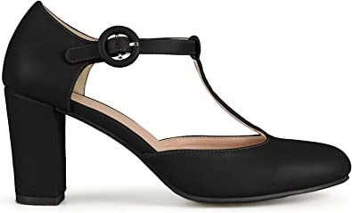 Brinley Co Womens Chunky Heel Matte Finish Pumps New