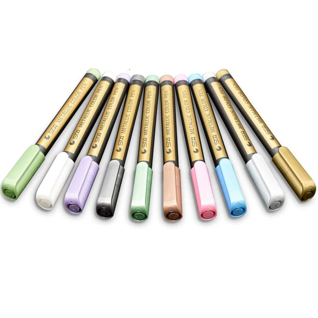 Lookgid Multicolor Glitter Marker Pen Soft Paint Pen DIY Painting Graffiti Stationery Porous-Point Pens 10PCS by Lookgid (Image #1)