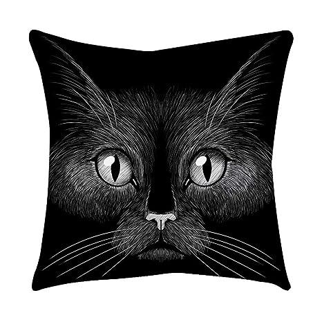VJGOAL Moda Lindo Negro Ojos de Gato impresión en casa Decorativo Suave sofá cómodo Cojín Cuadrado Funda de Almohada(45_x_45_cm,Negro11)