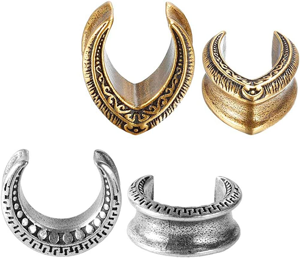 TBOSEN 4PCS Set Gauges for Ears Copper Plugs and Tunnels Stainless Steel Teardrop Ear Tunnels Size 2g - 5/8
