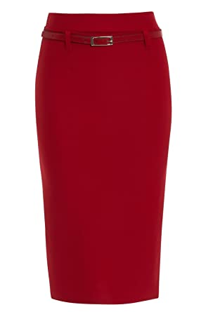 98451d9e1ff0d Miss Skinny Womens Bodycon Black RED Pencil Skirts Ladies Belt Stretch Skirt  Long Size 8-18 29