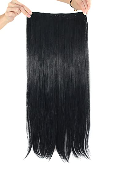 Amazon mapofbeauty 24 long straight clip in hair extensions mapofbeauty 24quot long straight clip in hair extensions hairpieces black pmusecretfo Images