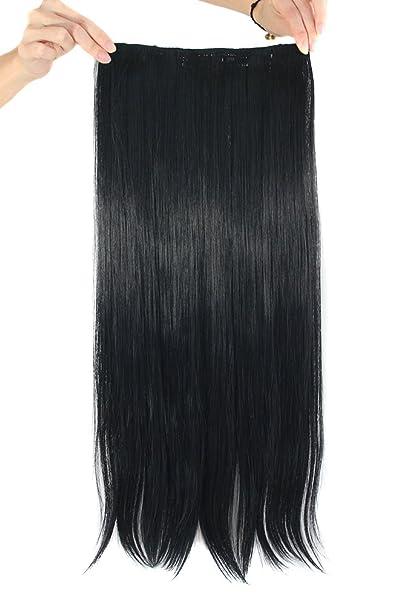 MapofBeauty 60cm/24 pulgada largo lacio seorita pedazo de cabello (negro)