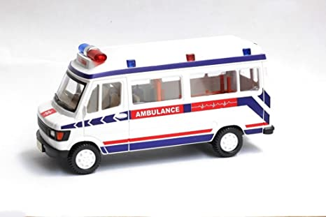 Centy Toy TMP 207 Plastic Pull Back Ambulance MIniature  White  Toy Cars   Trucks