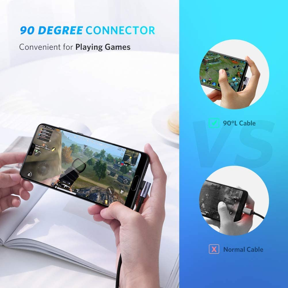 Bundle UGREEN USB C to USB C Cable Right Angle 90 Degree Type C 60W PD 6FT 2 Pack