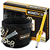 MGNETICO Magnetic Wristband: Adjustable Black Band with 10 Neodymium Magnets To Hold Metal Items Nearby Plus 7 In 1 Screwdriver Pen