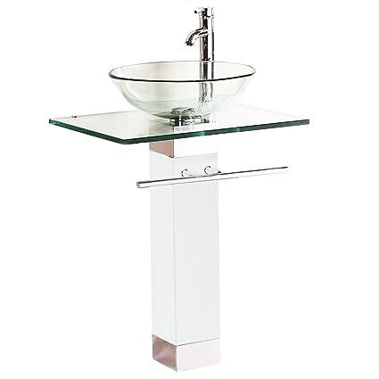 Astonishing Qierao Glass Vessel Bathroom Vanity Sink White Glass Sink Home Interior And Landscaping Ferensignezvosmurscom