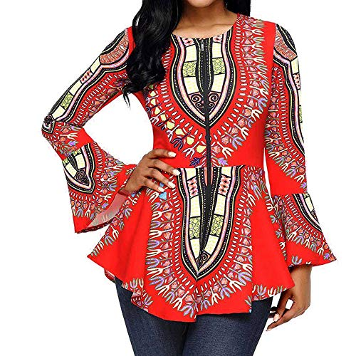Spbamboo Women Tops Asymmetric Hem Long Sleeve Printed Zipper Closure Blouse by Spbamboo