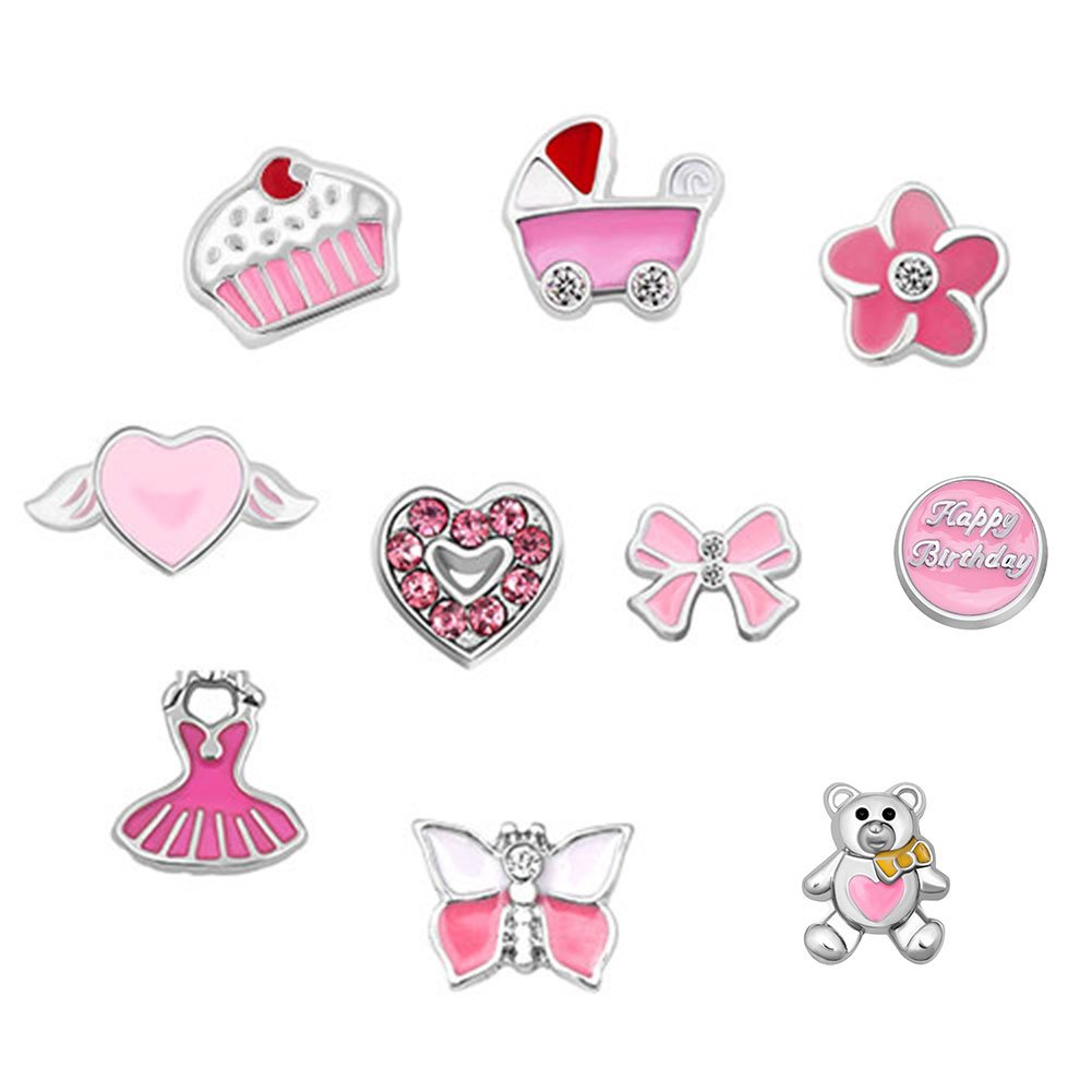 Charmed Craft 10pc Pink Baby Girl Charms For Floating Lockets Necklace & Bracelets KSEB_A90_SET79