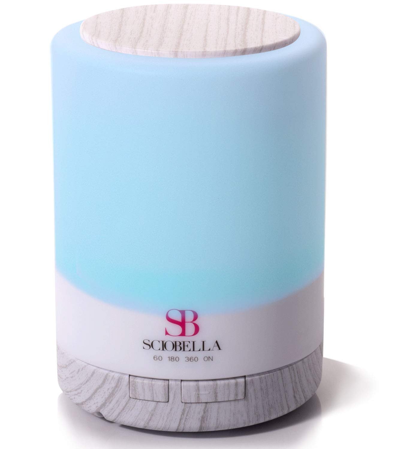 Sciobella Aromatherapy Essential oil Diffuser Ultrasonic Cool Mist and Lighting at once for Bedroom office (White wood)