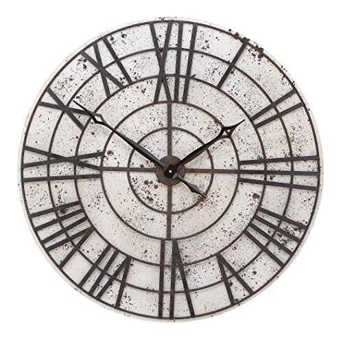 Benzara Wall Clock, White Background and Chocolate Brown Metal