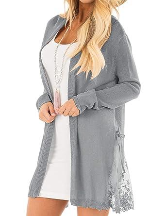 LookBook Store Women Long Open Front Lightweight Grey Cardigan Sweater Soft  Crochet Lace Knit Outerwear Size 3524dc8f1