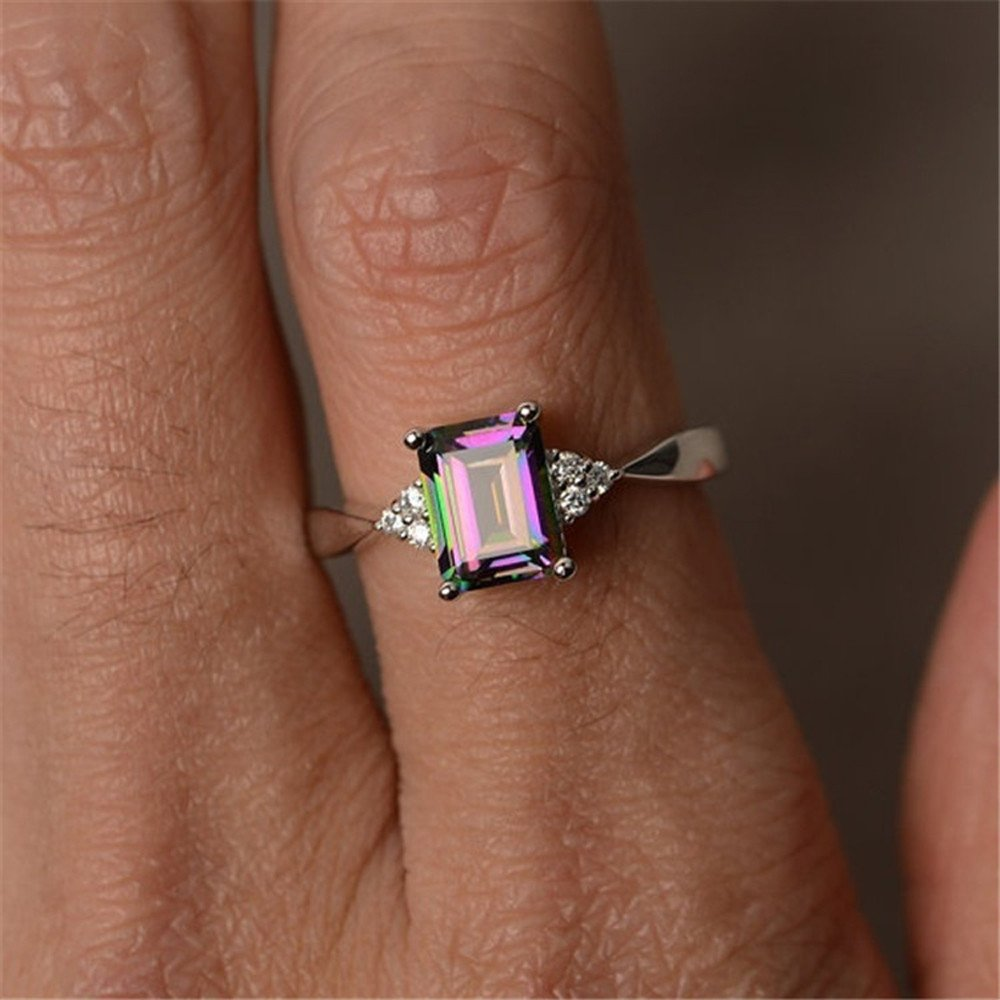 Clearance Sale! Women's Silver Ring Princess Cut Mystic Rainbow Engagement Diamond 925 Sterling Silver Rings Jewelry (Silver, US Size 6)