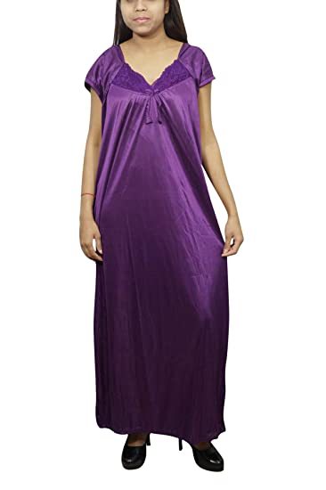 702bdb0397 Indiatrendzs Women 2 pcs Satin Nightwear Solid Bedroom Wear with Robe Purple   Amazon.in  Clothing   Accessories