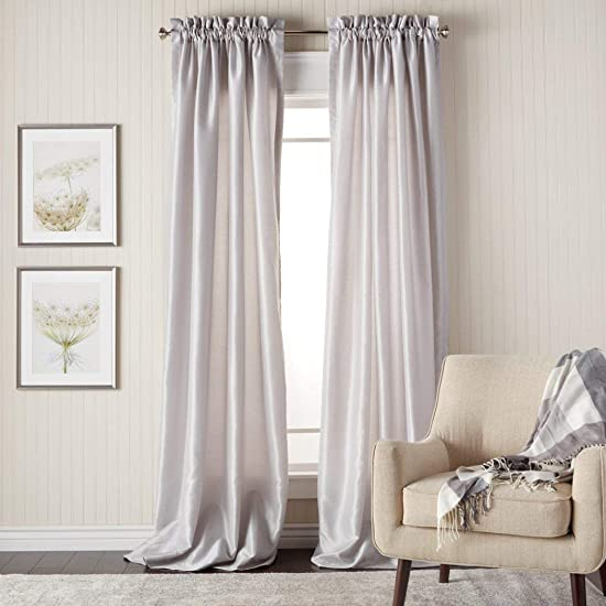 DH 2 Piece 108 Inch Silver Color Faux Silk Curtains Panel Pair Set, Silver Solid Color Window Rod Pocket Drapes, Puckered Tufted Texture Pattern Solid Color Stylish Modern, Faux Silk Polyester