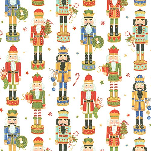 8' Paper Pack (Entertaining with Caspari Continuous Roll of Gift Wrapping Paper, Nutcracker Parade, 8-Feet, 1-Roll)