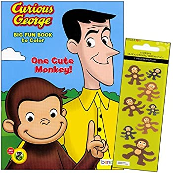 Curious George Coloring Book With Stickers 96 Page One Cute Monkey
