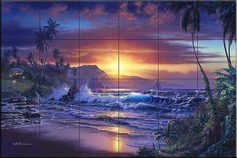 Ceramic Tile Mural Maui Daybreak By Christian Riese Lassen - Ceramic tile plus maui