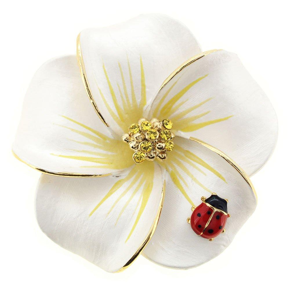 Fantasyard White Hawaiian Plumeria with Red Ladybug Swarovski Crystal Flower Pin Brooch and Pendant