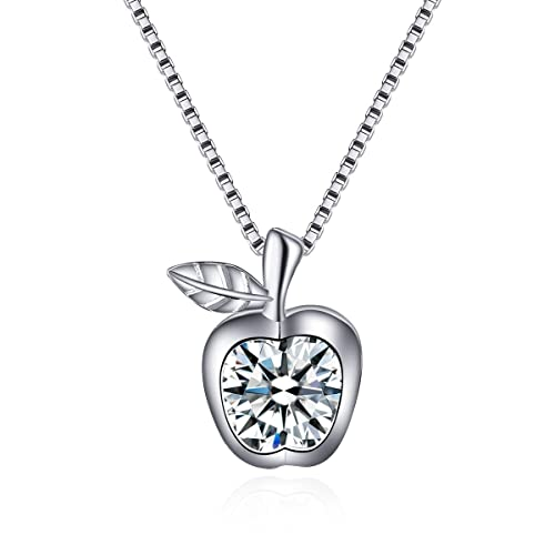 Yirent jewelry sterling silver apple pendant necklace with gift box yirent jewelry sterling silver apple pendant necklace with gift box18quot mozeypictures Image collections