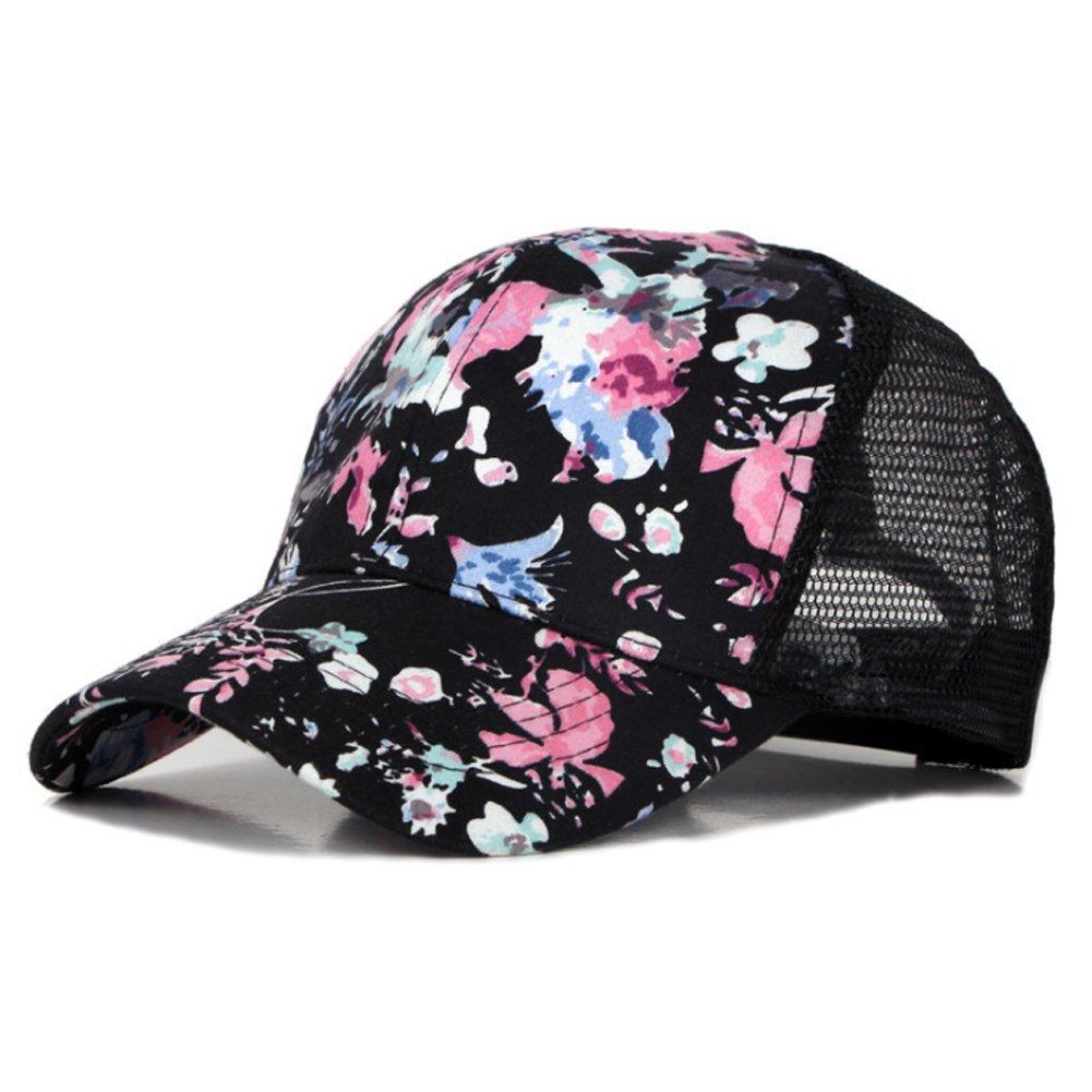 Ouken Regolabile Floral Trucker Snapback Cap snapback cappello berretto da baseball per le donne ragazze nero 1pc