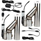 ECCPP 3' Electric Exhaust Cutout Valve Y Pipe 2 pcs with One Controller Remote Kit