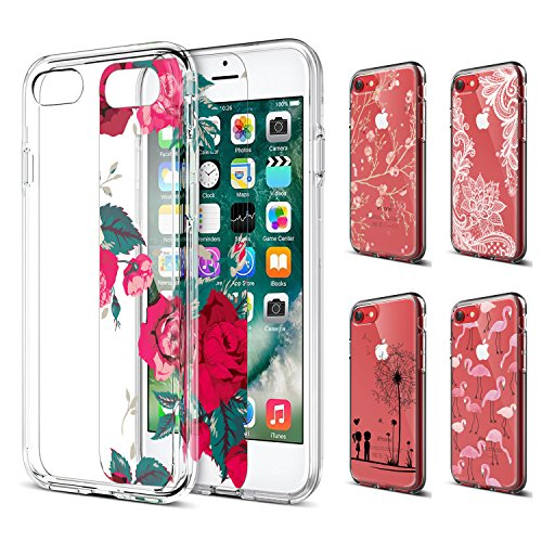 iPhone 7 Case Clear, ivencase 5PCS Replaceable Patterned Card DIY Creative Shockproof Hard PC + Soft TPU Silicone Bumper Transparent Cover for iPhone 7/ iPhone 8 4.7 Inch