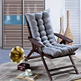 SJERC Thickening pure color suede belt lounge chair, cushion, chair cushion, rocking chair cushion, wooden chair soft sofa cushion (excluding chairs),115x45cm,Silver grey